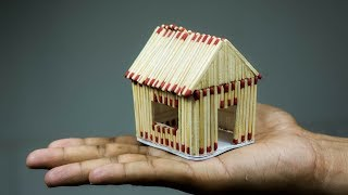 How To Make A Match House (with very easy different idea) / Easy DIY House / Matchstick Art by F8ik