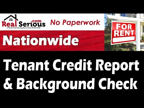 Tenant Credit Report & Background Check - No Inspection