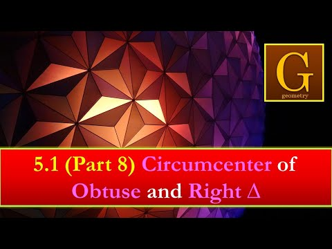 Chap 5 (video 11) Geometry.  Circumcenter of Obtuse & Rt Triangles.