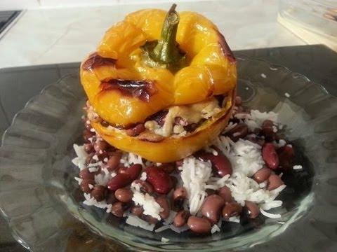 Jamaica Roast Stuffed Pepper With White Rice, Beans & Peas & Cheese!! Beautiful Vegetarian Dish