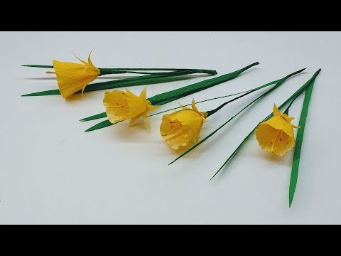 How to make Crepe paper flowers Petticoat Daffodil / Narcissus Bulbocodium (flower # 232)
