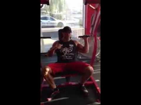Prescription Nutrition's Josh Barnett using the Hammer Strength Shoulder Press