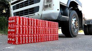EXPERIMENT: TRUCK vs 100 Coca Cola Cans