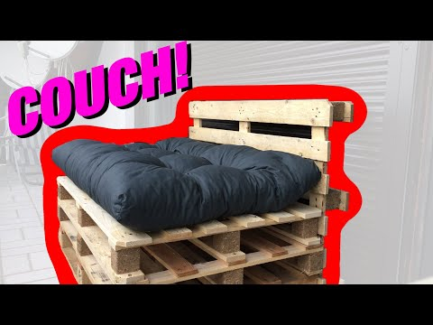 AWESOME Pallet Couch DIY Project (Sofa made of pallets) [4K]