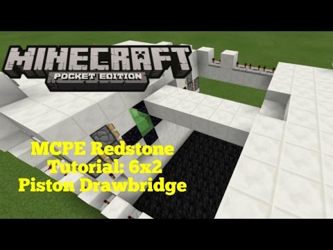 Minecraft Pocket Edition Redstone Tutorial: 6x2 Piston Drawbridge (MCPE 1.0.3)