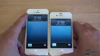 In this video we compare the new iPhone 5 with the iPhone 4S. The iPhone 5 has the new A6 dual-core 1GHz Apple CPU with 1GB of RAM, while the iPhone 4S has an A5 dual-core 800MHz Apple CPU. The display on the iPhone 5 is 1136x640 while it