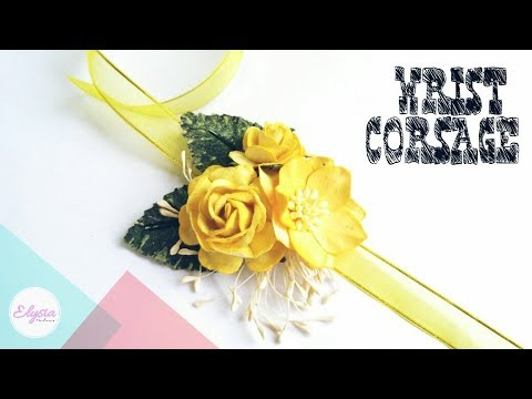 How To Make Paper Flower Wirst Corsage For Prom or Wedding   DIY by Elysia Headband