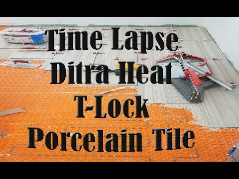 Large format tile floor over Ditra Heat installed with T-Lock™ Time Lapse