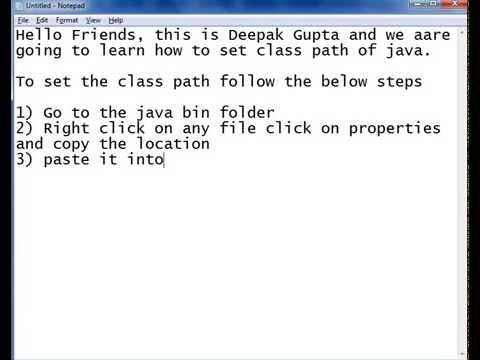How to set class path for java in windows 7