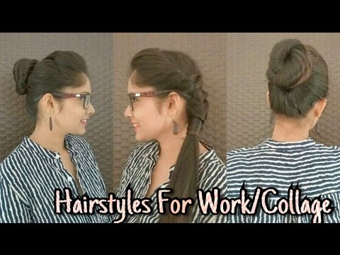 Everyday Quick/Easy Hairstyles For School/Collage And Work| DIY Professional Office Hairstyles