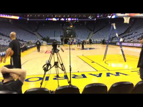 Early tour of Oracle Arena, Warriors (47-9) v LAC, inc tunnel, Damian Jones, Briante Weber, BMW Club