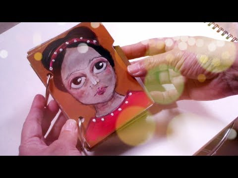 Frida inspired art - How to paint a face with acrylics - art journal page - mixed media girl