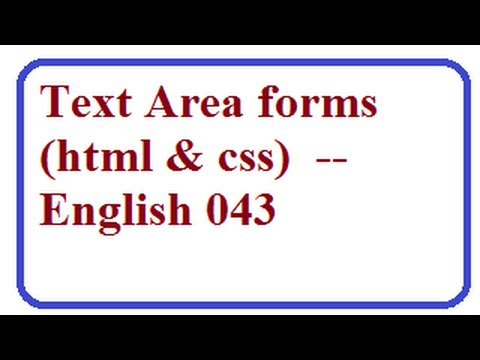 How to Create Text Area in HTML forms -- English 043-vlr training