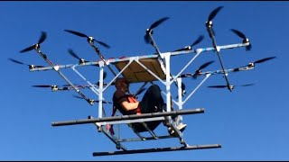 Sky-Hopper, first manned flight of electric multicopter