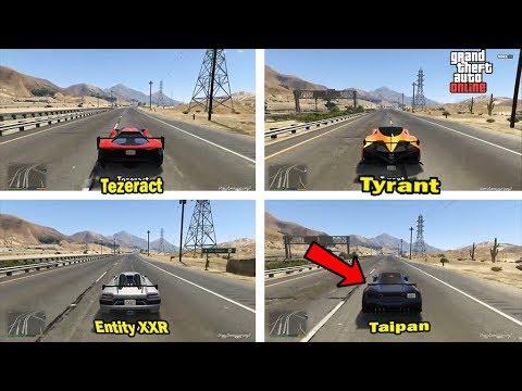 GTA 5 Tyrant vs Entity XXR vs Tezeract vs Taipan - Best GTA Online Super Cars Speed Test!