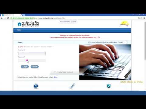 SBI Corporate Internet Banking Saral: First Time Login (Video Created as on September 2016)