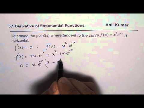 Determine points on exponential function with horizontal tangent line