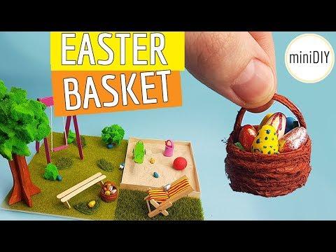 DIY Miniature Easter Basket Easter Eggs and Zen Garden