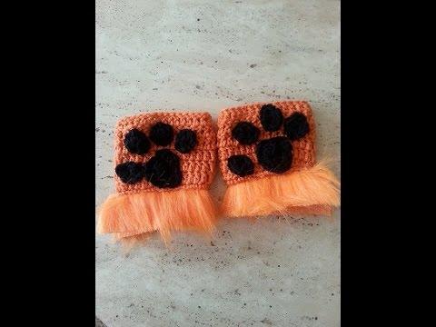Crochet easy fingerless mittens for lion paw DIY tutorial