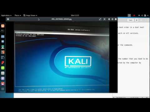 Change boot order on dual boot of linux kali 2017 and windows 10