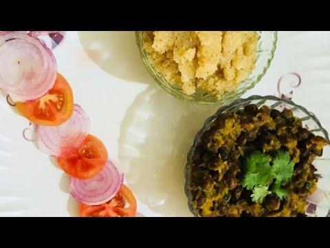 काले चने/छोले , सूजी का हलवा और पूरी। Kale chane, suji ka halwa aur puri | Easy and simple