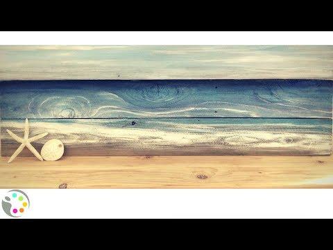 DIY Beach Painting on Wood | Tutorial