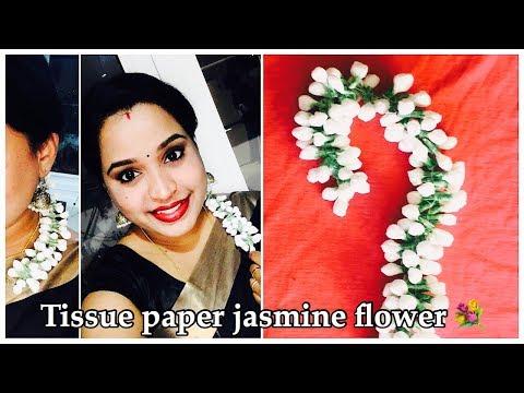 How to make Tissue paper jasmine flower garland 💐 || 2018...