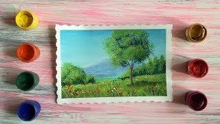 Рисуем гуашью пейзаж с горой и деревом
