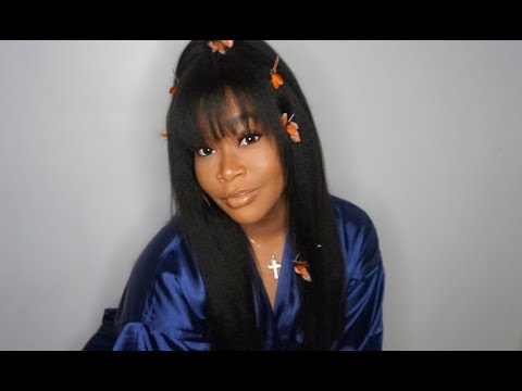 SZA VIBES   Makeup + CUTTING BANGS IN KINKY STRAIGHT WIG   CHINALACEWIG