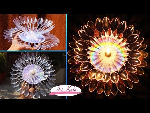 DIY Diwali/Christmas Home Decoration | Ideas How to make candle stand from plastic spoon  |artkala