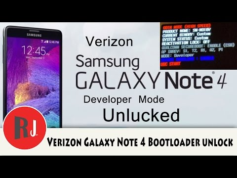 Verizon Samsung Galaxy Note 4 bootloader unlock and TWRP recovery install
