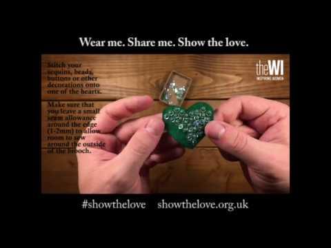 #ShowTheLove - Felt green heart brooch