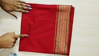 bda54bc237386 Easy patchwork blouse design cutting   stitching  paithani blouse ...