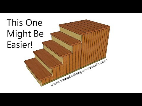 Four Step Outdoor Stairs With Detachable Landing - Vertical 2x4's Stringer