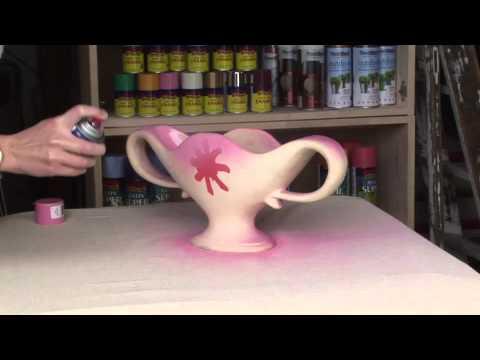 Flower vase sprayed with PlastiKote Fast Dry Enamel