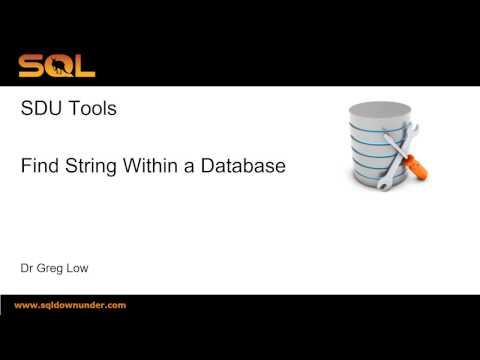 SDU Tools   12   Find String Within a Database