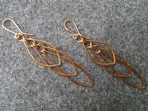how to make Leaves earring - handmade copper jewelry 222