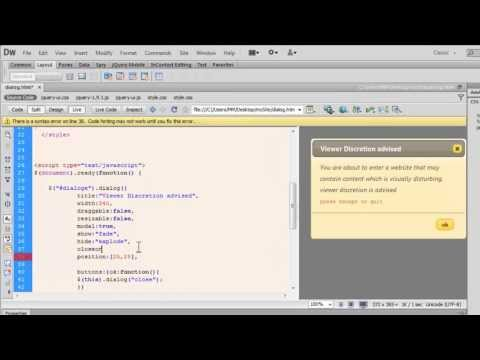 JQuery UI -dialog widget explained in detail
