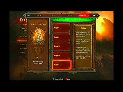 Diablo 3 Xbox 360 Difficulty Guide | Explaining All Modes | Inferno & Master V | Complete Bonuses!