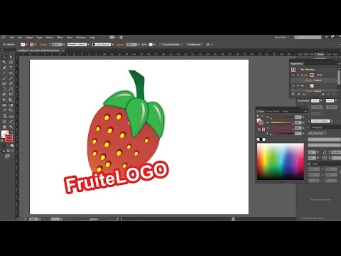 How to draw a Juicy Fruit Logo Adobe Illustrator 2017 by drawing a stoberry.