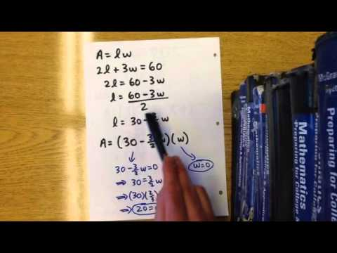 Quadratic word problem: area of rectangle (2L + 3w)