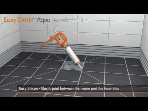 Aqua Jewels shower drains - Installation with standard clamp drain - Easy Drain USA
