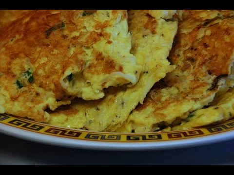 Tiny SilverFish Quartered Omelet : Chinese Cooking.