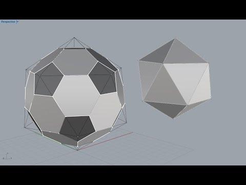 Truncated icosahedron starting from the icosahedron | Rhino
