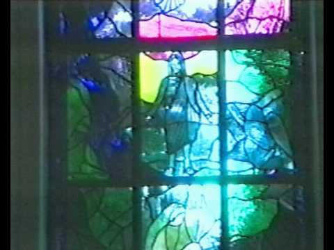 Stained glass window installation at St. Ann's Church
