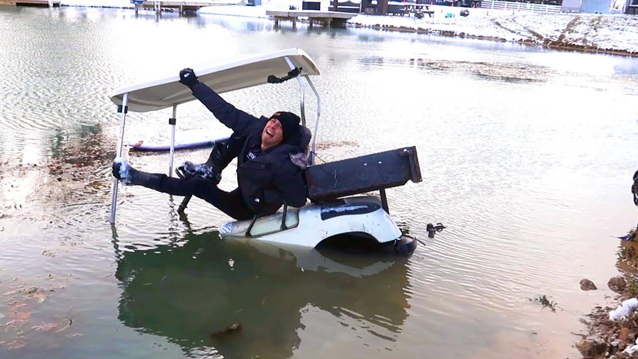 Sank My New Golf Cart!! ( ICE WATER )