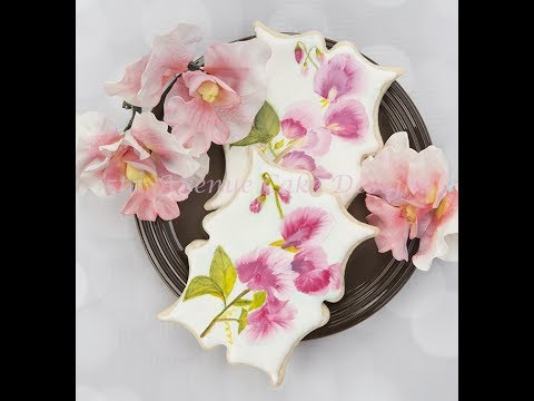 How to Hand Painted Royal Icing  Sweet Pea Cookies 🌸🌱🖌️🎨