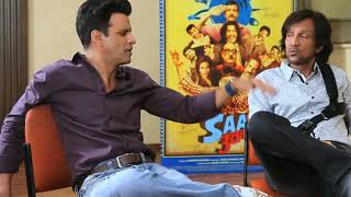 Manoj Bajpai, Vijay Raj & k k sir talking to each other with  film promotion  desi tadka gali galoch