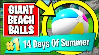 Download BOUNCE A GIANT BEACH BALL IN DIFFERENT MATCHES *ALL LOCATIONS* (Fortnite 14 Days Of Summer REWARDS) Video