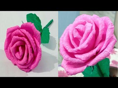 DIY Paper Rose:Crepe paper flower making tutorial: Paper Craft